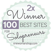 Marianne Manthey and www.DesignYourOwnBlog.com is thrilled to have been chosen TWICE by her peers and followers as one of #100BestSites for Solopreneurs on OneWomanShop.com!