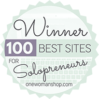 Marianne Manthey and www.DesignYourOwnBlog.com is thrilled to have been chosen by her peers and followers as one of #100BestSites for Solopreneurs by OneWomanShop.com!