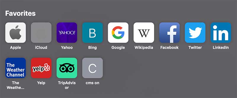 Favicon icon shortcuts in a new browser tab in Safari.