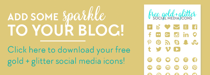 Download these free gold and glitter social media icons at www.DesignYourOwnBlog.com! Plus check out the tutorial on how to add your own gold leaf or glitter texture to your blog graphics! It's easy and you can download free gold textures here too!