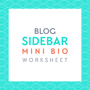 Free Download: Blog sidebar mini bio worksheet. Write an amazing bio that gets people to want to follow your blog! Get this and more free goodies at www.DesignYourOwnBlog.com