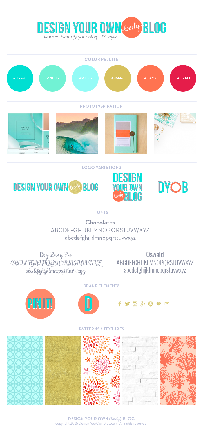 The new Design Your Own (lovely) Blog brand board, inspired by my happy place: the ocean!