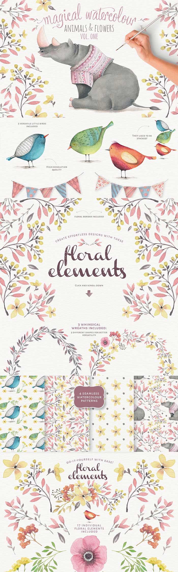Magical Watercolor Animals + Flowers vol. 1 is part of the Design Cuts Graphics Bundle for 91% Off!