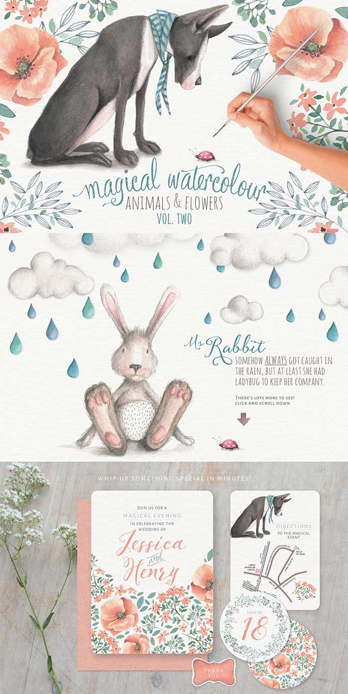 Magical Watercolor Animals + Flowers vol. 2 is part of the Design Cuts Graphics Bundle for 91% Off!