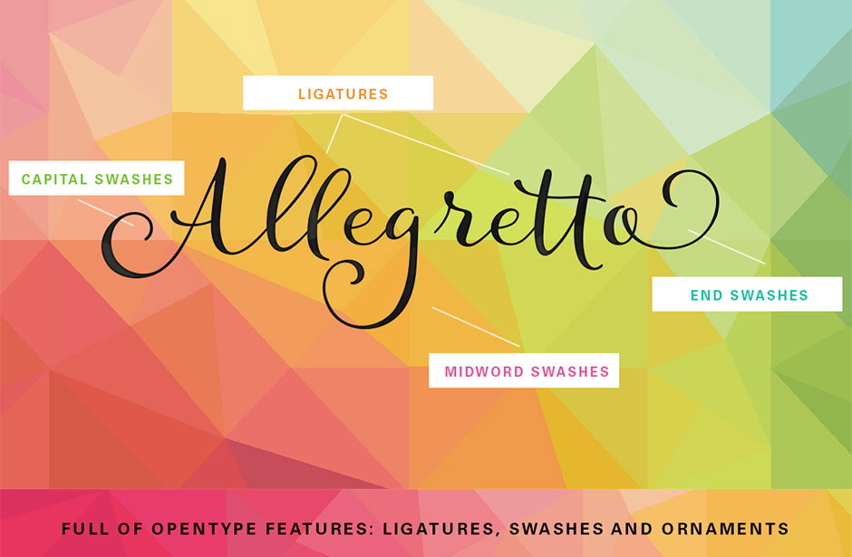 Typographer's Dream Bundle includes 33 fonts for $29, save 99%! Includes this beautiful playful script font, Allegretto.