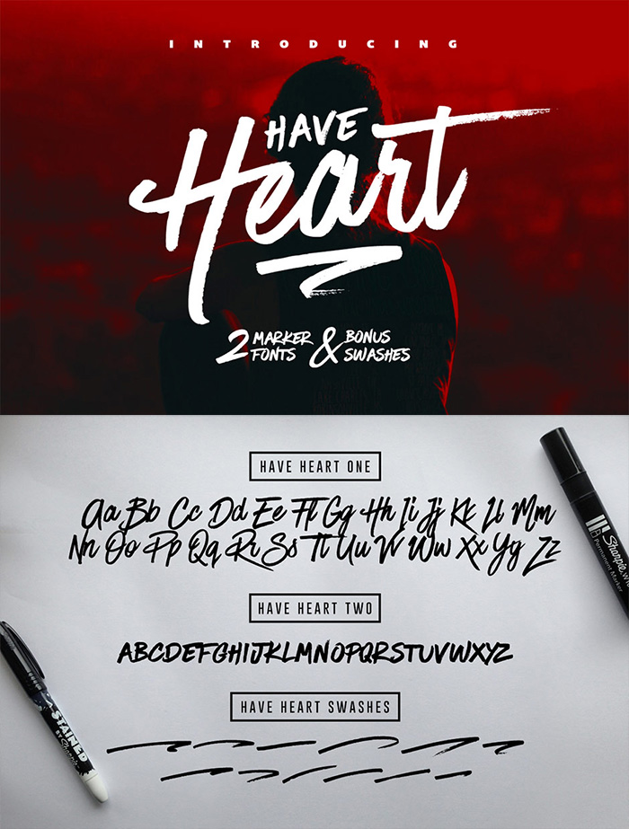 Typographer's Dream Bundle includes 33 fonts for $29, save 99%! Includes this set of 2 hand-made marker pen fonts.