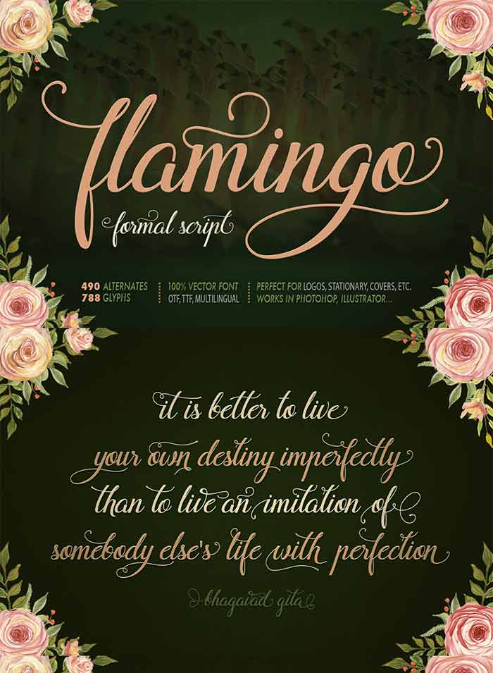 Flamingo Formal Script font from Blessed Print is 1 of 20 professional fonts you can get for just $29!