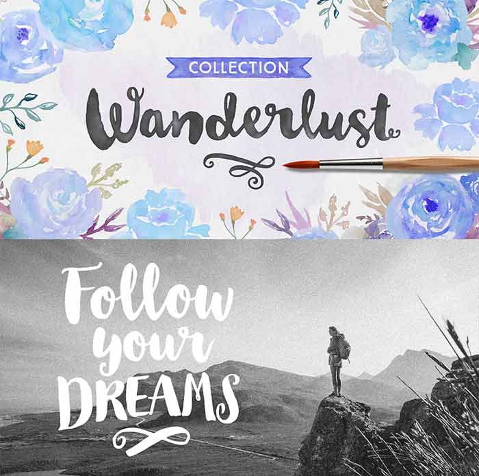 Wanderlust Brush Script Font Collection from Cultivated Mind is 1 of 20 professional fonts you can get for just $29!