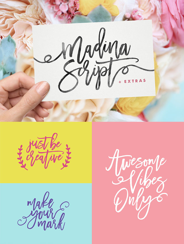 Hand Drawn Design Trend in the Digital Designer's Artistic Toolkit. Madina Script & Extras from Set Sail Studios. Includes web versions. Find more on www.DesignYourOwnBlog.com