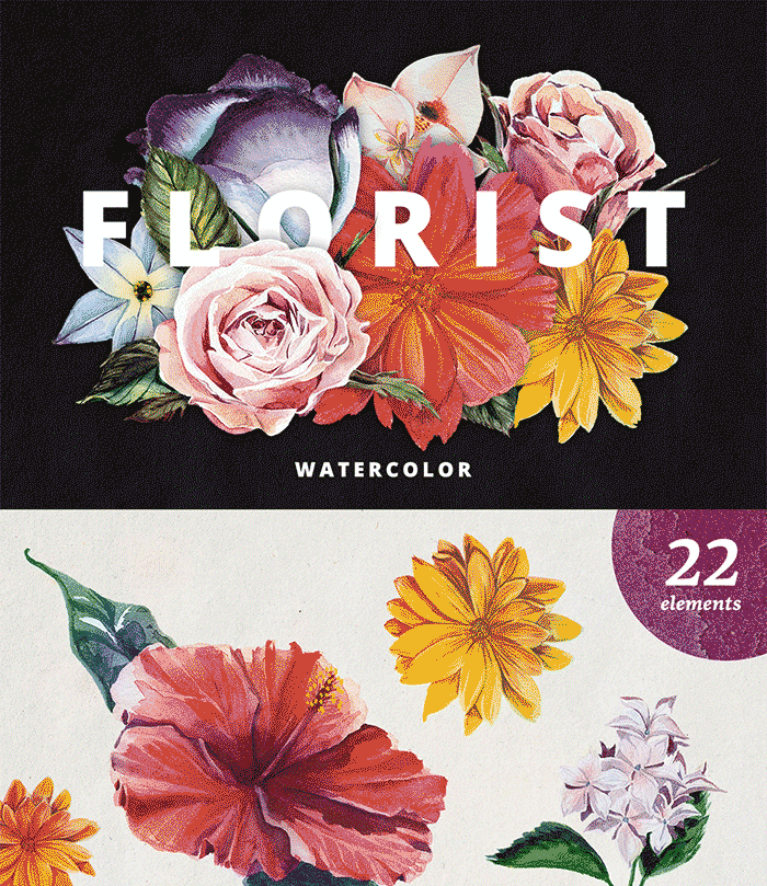 Hand Drawn Design Trend in the Digital Designer's Artistic Toolkit. Florist – Watercolor Flowers Set from Milka. Find more on www.DesignYourOwnBlog.com
