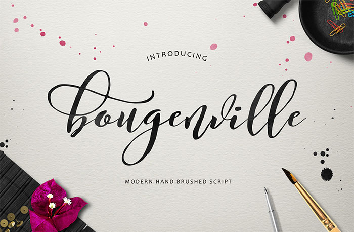 Hand Drawn Design Trend in the Digital Designer's Artistic Toolkit. Bougenville Script from Get Studio. Find more on www.DesignYourOwnBlog.com