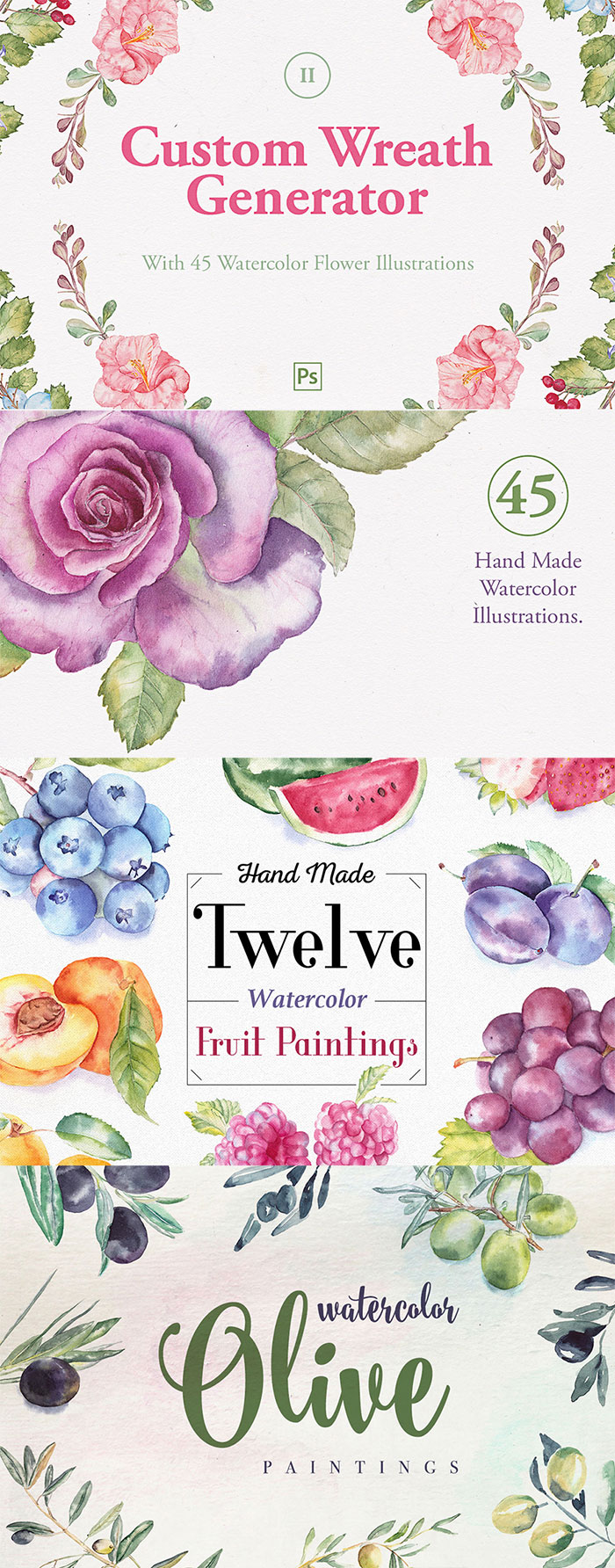 Hand Drawn Design Trend in the Digital Designer's Artistic Toolkit. Custom Wreath Creator With Flowers + 2, Fruit Watercolor Illustrations and Olive Watercolor Paintings from Emine Gayiran. Find more on www.DesignYourOwnBlog.com