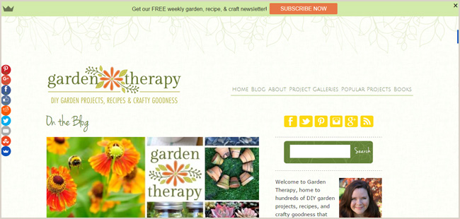 Finding a color palette to match your blog's personality. If you're going for the earthy, natural look, greens and browns are a good choice. The Garden Therapy blog uses a rich olive green, which has been lifted and made more dynamic by being complemented with bright orange, yellow, and a touch of lime.