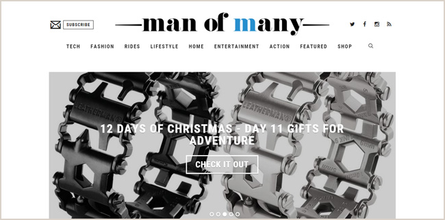 Finding a color palette to match your blog's personality. Man of Many uses mostly a black and white scheme with a pop of blue. Note also the choice of a bold, solid font which emphasizes that masculinity.