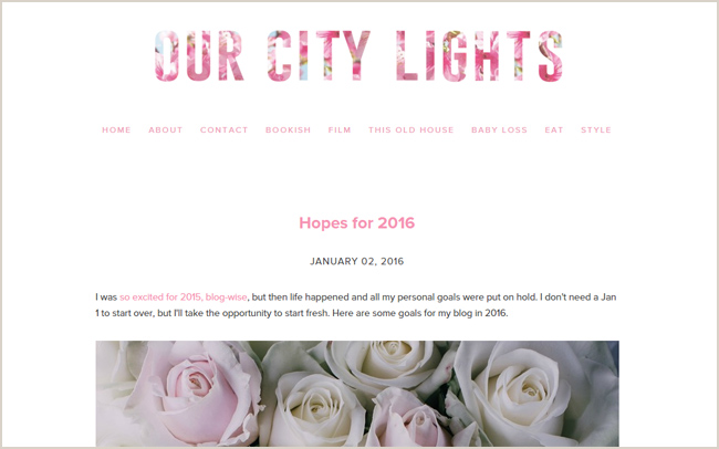 Finding a color palette to match your blog's personality. Our City Lights is an introspective blog by Diana La Counte, who writes about