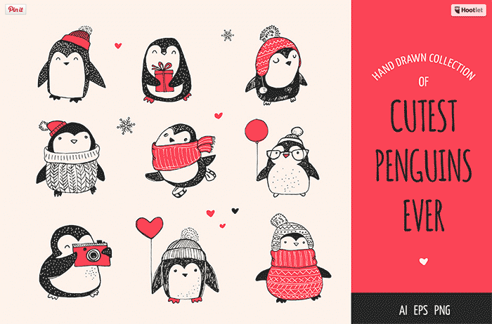 Hand-crafted illustrations bundle! TONS of graphics like these adorable cutest penguins ever! Full licensing included. Grab yours before it's gone! hand-drawn illustrated characters red black and white cartoons