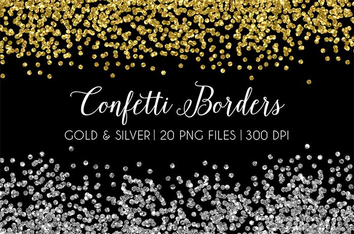 Hand-crafted illustrations bundle! TONS of Watercolor designs included plus these awesome sequin confetti border graphics. Full licensing included. Grab yours before it's gone! gold silver sequins glitter
