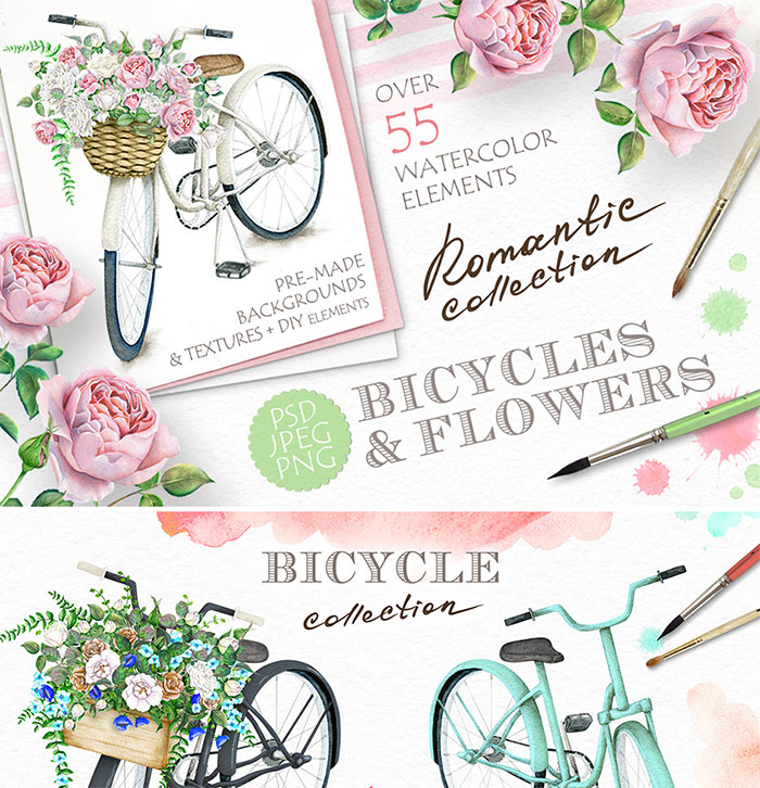 Hand-crafted illustrations bundle! TONS of Watercolor designs included like these watercolor cruiser bicycles and flower baskets. Full licensing included. Grab yours before it's gone!