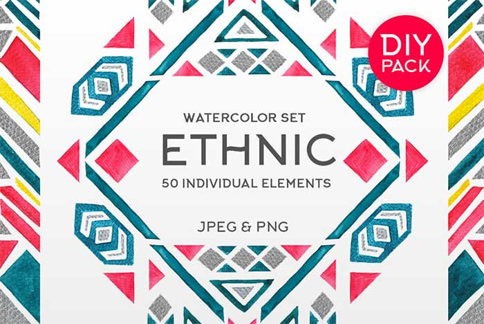 Hand-crafted illustrations bundle! TONS of Watercolor designs included like these boho, ethnic, tribal, aztec-style watercolor graphics. Full licensing included. Grab yours before it's gone!