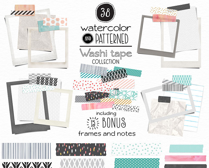 Hand-crafted illustrations bundle! TONS of Watercolor designs included like these super awesome watercolor patterned washi tape graphics! Full licensing included. Grab yours before it's gone! patterns clip art photo frames polka dots chevron herringbone