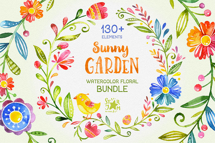 Hand-crafted illustrations bundle! TONS of Watercolor designs included like these gorgeous folkloric flower watercolor graphics. Full licensing included. Grab yours before it's gone! Floral folk hand-painted hand-drawn handmade birds flowers laurels