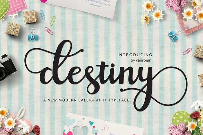 Destiny by Vanroemstudio, a beautiful calligraphy script font. One of the font types I recommend for feminine designs in this roundup of 9 feminine font trends for 2016.
