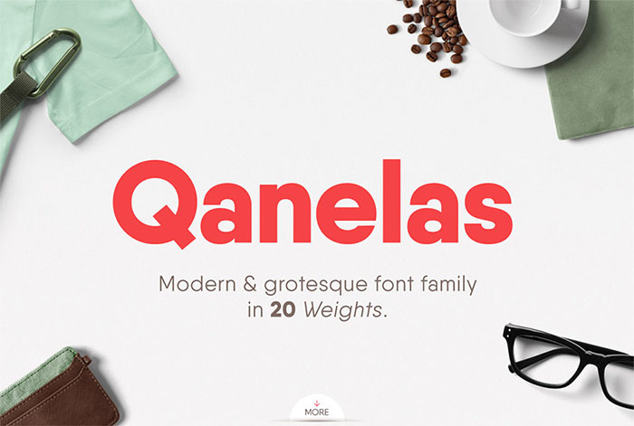 Qanelas by Radomir Tinkov, a Geometric sans serif font with thin to black weights. One of the Geometric or Grotesque fonts I recommend for feminine designs in this roundup of feminine font trends for 2016.