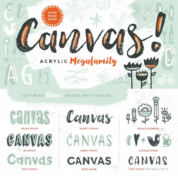 Canvas Complete Font Family from Yellow Design Studio. included in the DesignCuts font bundle. See more ideas for feminine fonts for your blog in 2016.
