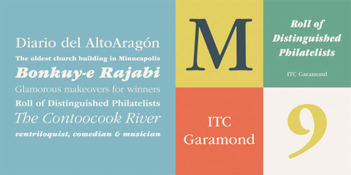 ITC Garamond by ITC, a classic serif font that looks great in italics paired with a bold sans serif. One of the font types I recommend for feminine designs in this roundup of feminine font trends for 2016.