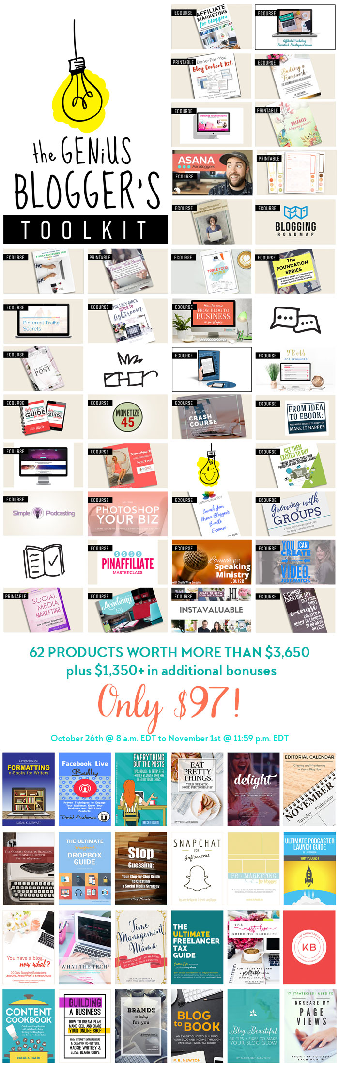 The Genius Blogger's Toolkit is a bundle of 24 ebooks, 33 ecourses + audio and 5 printable packs (and 17 bonuses) that's only available for ONE WEEK: Oct 26 - Nov 1, 2016. The best part is that the entire bundle (worth well over $5000) is only $97!! Yep, that's not a typo! Click here right now to get in on it before it's gone forever.