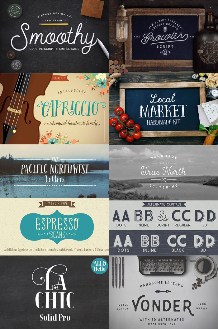 22 Best Selling Gorgeous Fonts (With Web Fonts and Extended Licensing) Just $29 - hand-written and hipster fonts