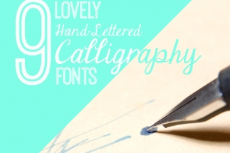 9 Hand-Lettered Calligraphy Fonts for your Feminine Designs. See all 9 at http://www.DesignYourOwnBlog.com