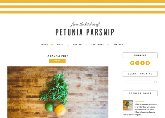 Petunia Parsnip WordPress Theme by Designer Blogs