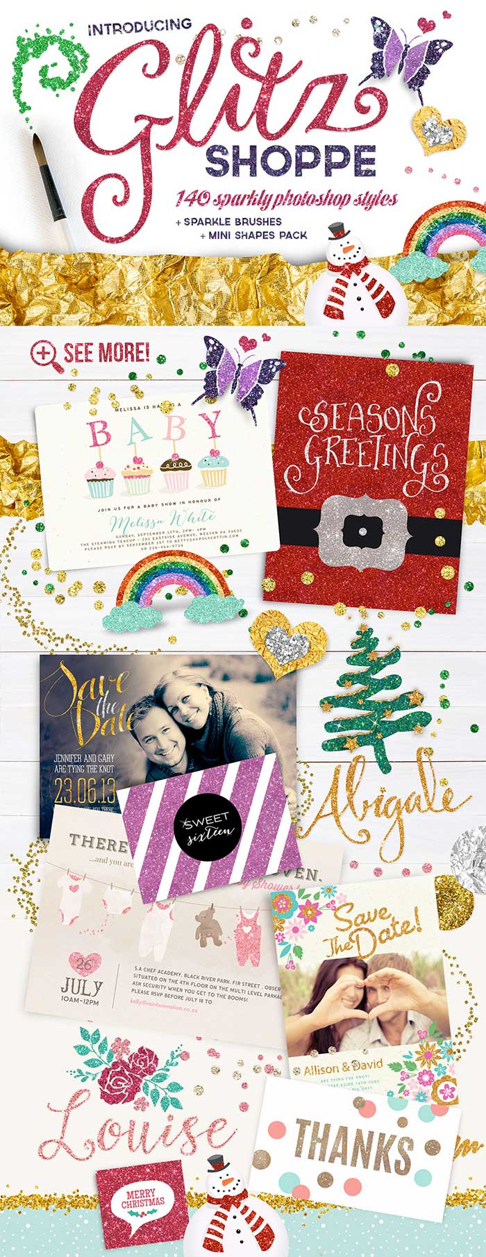The Glitz Shoppe! A whopper collection of 140 lovingly crafted Photoshop Sparkly Colourful Styles by Nikki Laatz