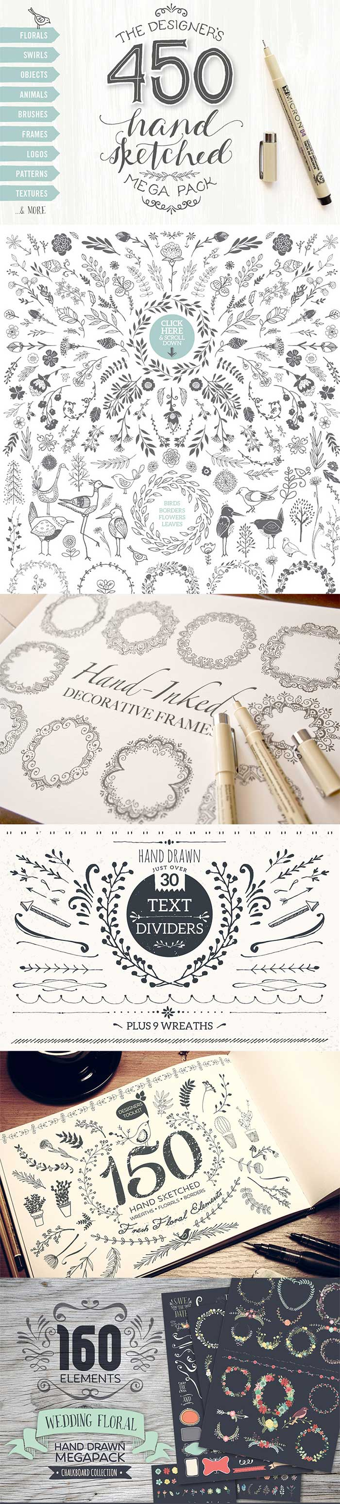 Hand-drawn decorative elements. Get them as part of the Amazing design bundle with 1000's of items for just $29!!