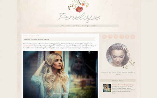 Penelope Blogger template using the watercolor trend. See more watercolor themes and templates at DesignYourOwnBlog.com