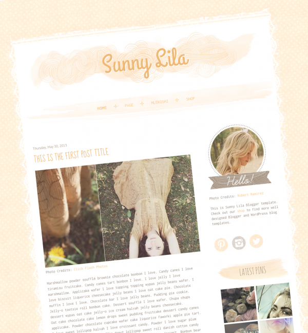 Sunny Lila Blogger template. See more watercolor themes and templates at DesignYourOwnBlog.com