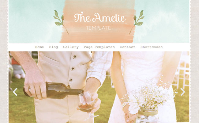 The Amelie, a watercolor WordPress theme. See more watercolor themes and templates at DesignYourOwnBlog.com