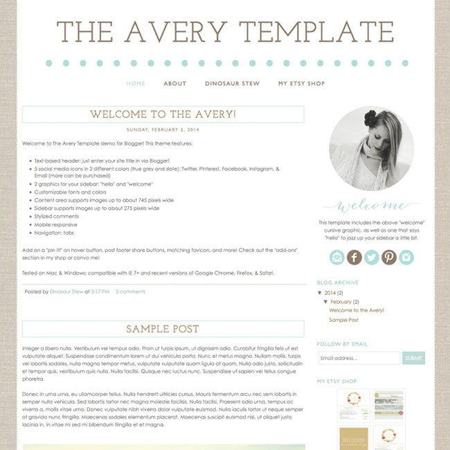 The Avery Template for Blogger shows off your images