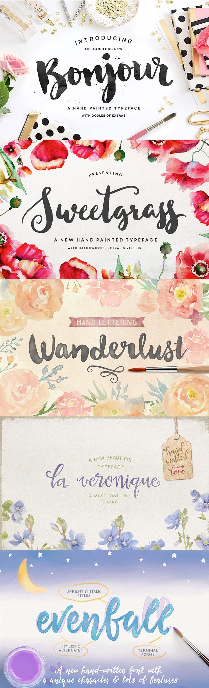 5 Gorgeous handwritten brush script fonts in this Design Cuts bundle!