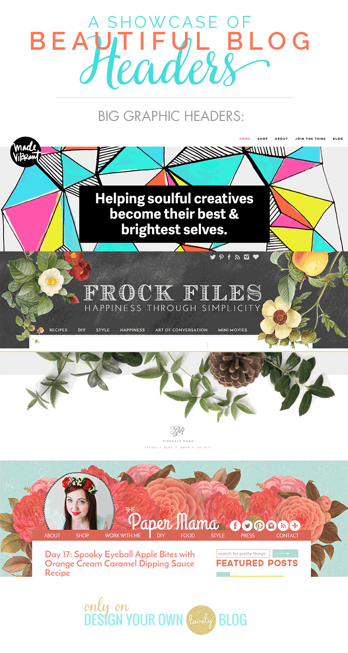 Beautiful blog headers with big graphics or botanical flowers. See more at DesignYourOwnBlog.com