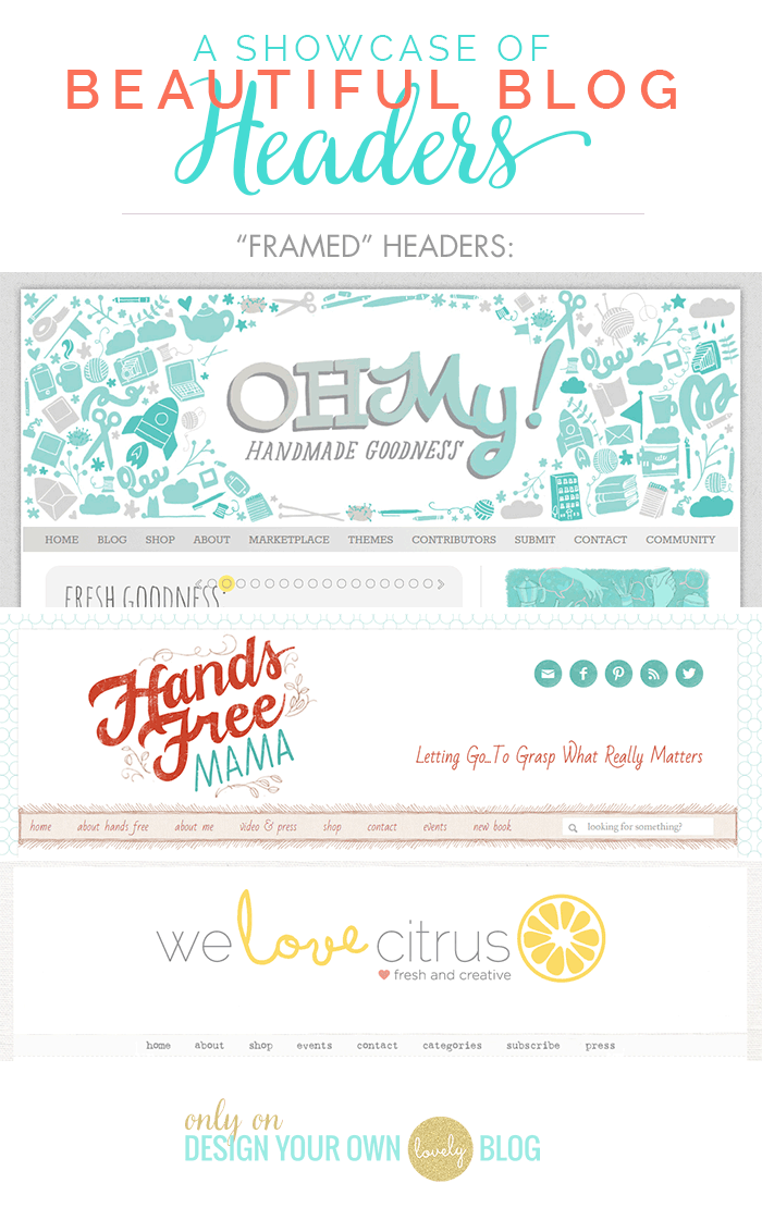 Beautiful blog headers that are framed within the blog's borders. See more beautiful blog headers at DesignYourOwnBlog.com
