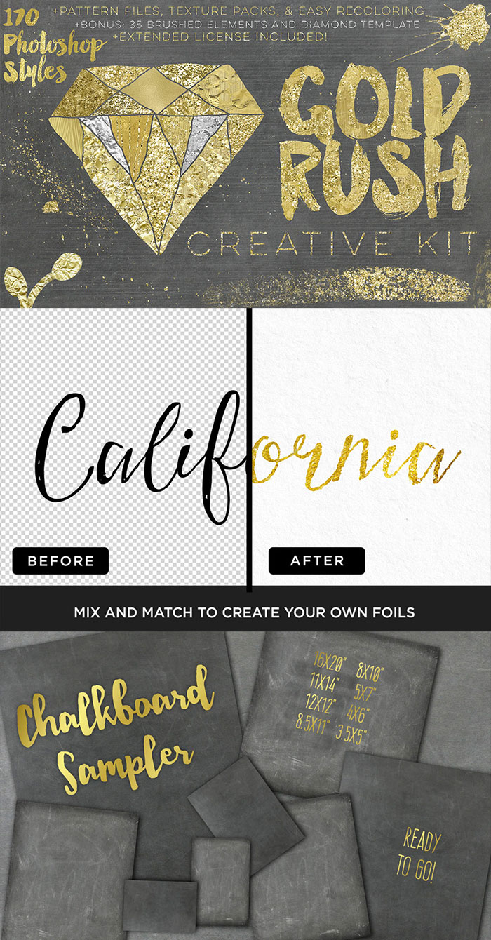 Beautiful Gold Foil and Chalkboard textures. The Beautifully Artistic Designer's Kit (1000s of Creative Resources) for just $29.