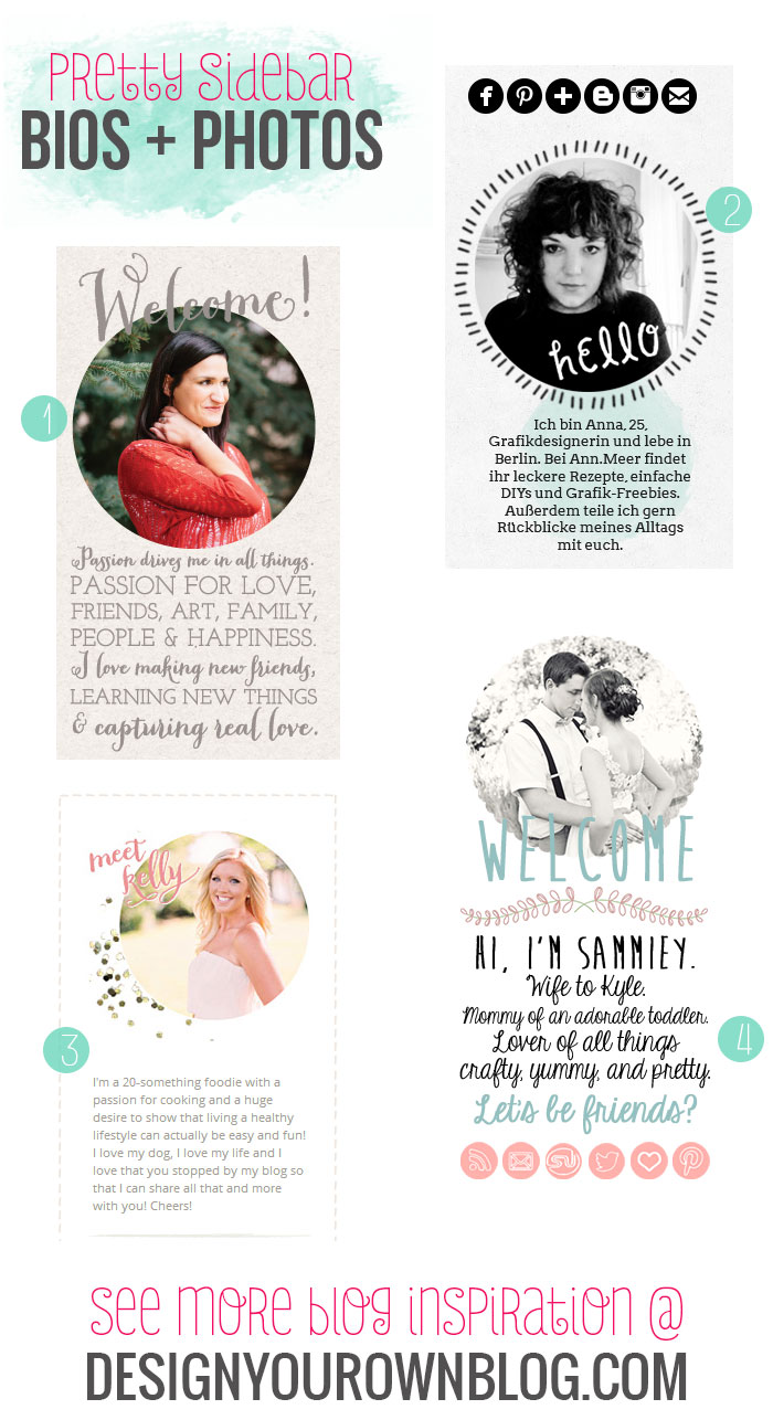 Blog sidebar author bios and profile photos - a showcase of pretty ones on DesignYourOwnBlog.com