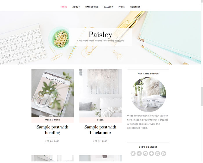 Paisley WordPress Theme by BluChic