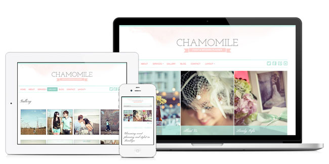 Chamomile, a watercolor WordPress theme. See more watercolor themes and templates at DesignYourOwnBlog.com