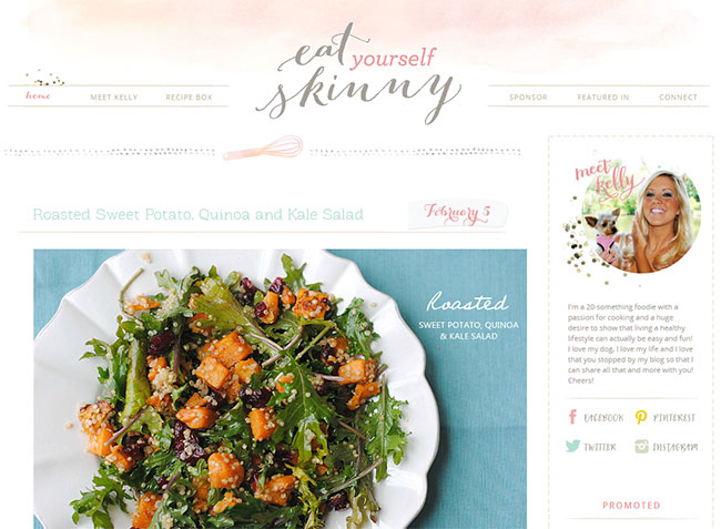 The beautiful splashes of watercolor in this header are soft and work so well with the Bombshell font of her logo.