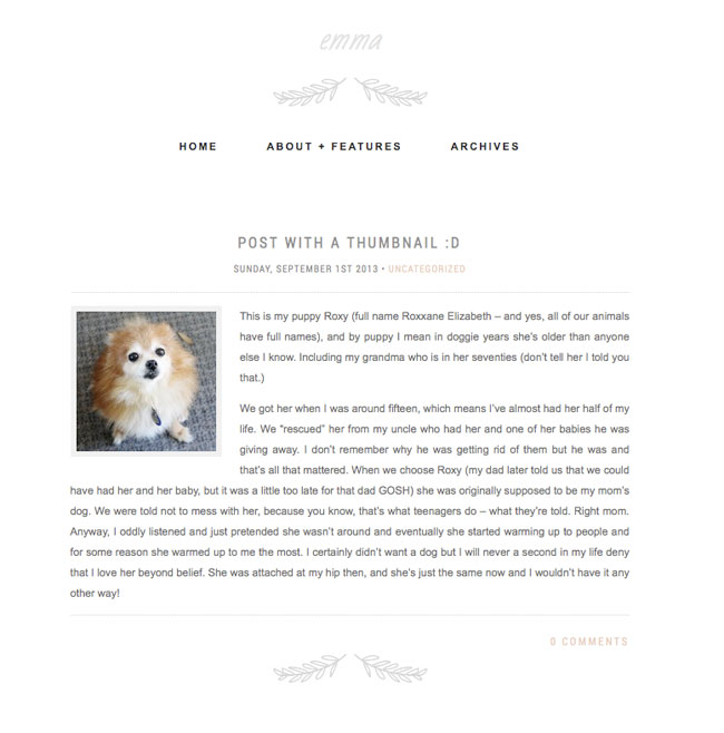 Emma is a minimal WordPress theme
