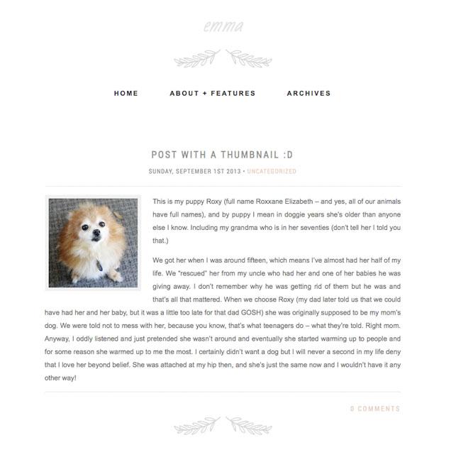 Emma is a minimal WordPress theme
