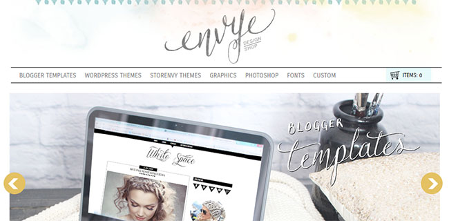 Envye uses a watercolor splashed header
